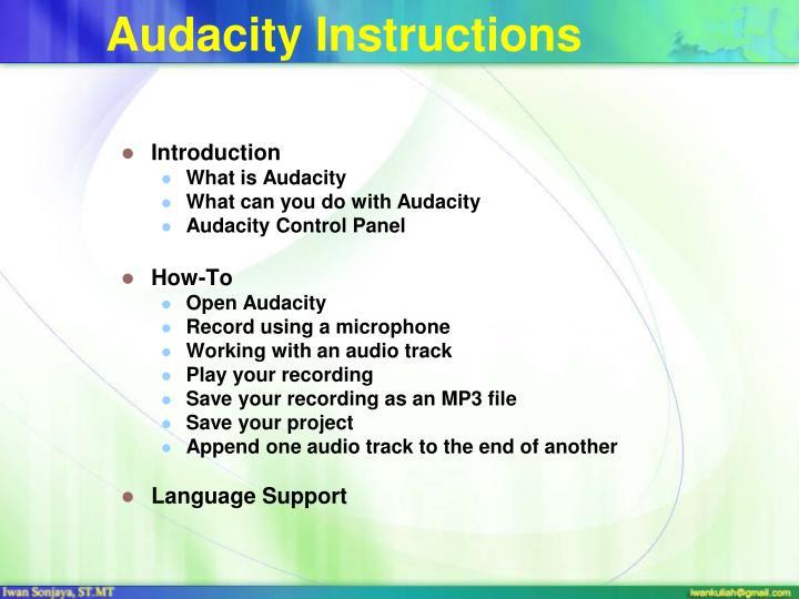 Audacity Instructions
