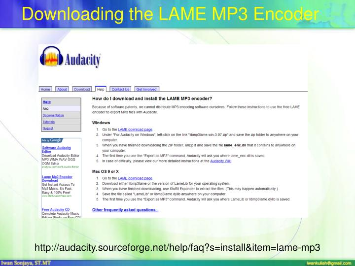 Downloading the LAME MP3 Encoder