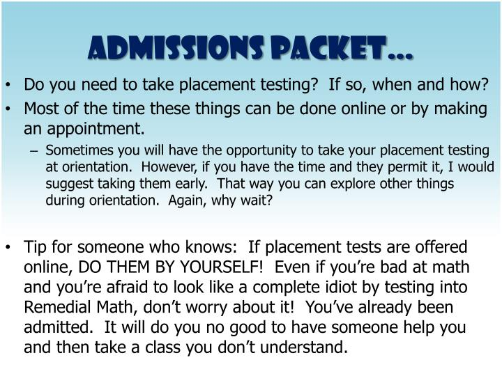 Admissions Packet…