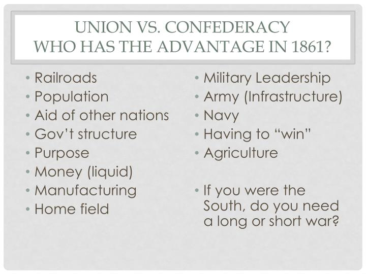 Union vs confederacy who has the advantage in 1861