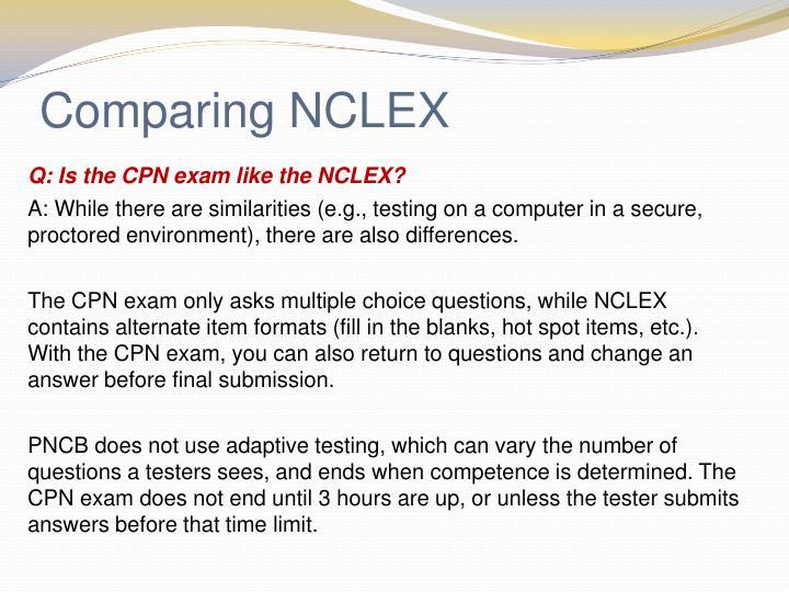Comparing NCLEX