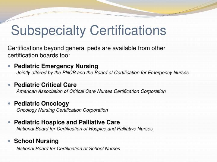 Subspecialty Certifications