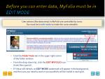before you can enter data myfolio must be in edit mode