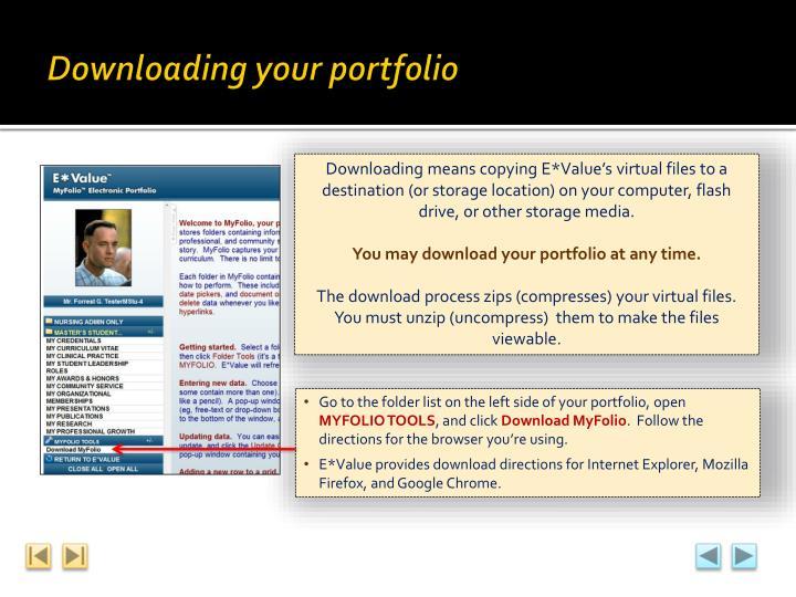 Downloading your portfolio