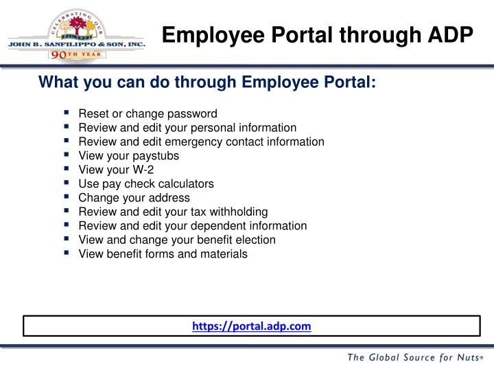 Employee Portal through ADP