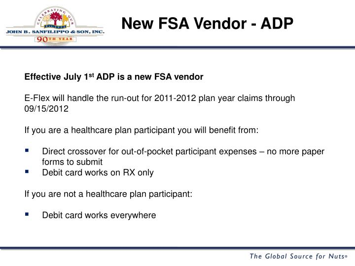 New FSA Vendor - ADP