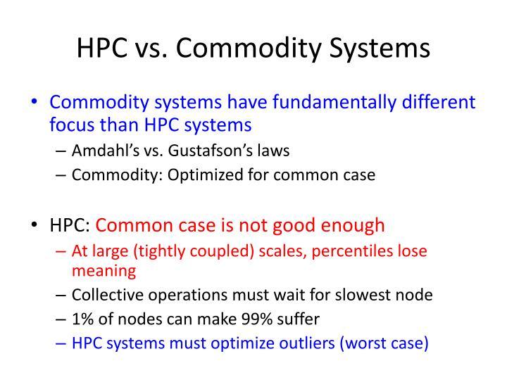 HPC vs. Commodity Systems