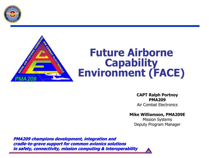 Future airborne capability environment face
