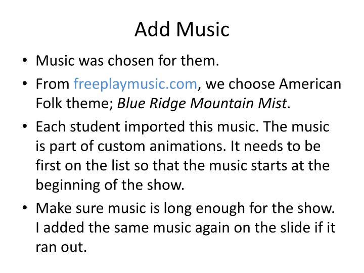 Add Music