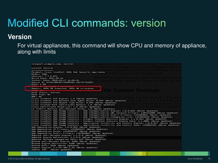 Modified CLI commands: version