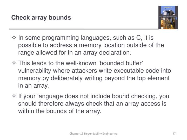 Check array bounds