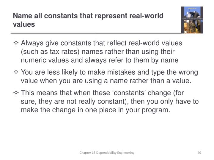 Name all constants that represent real-world values