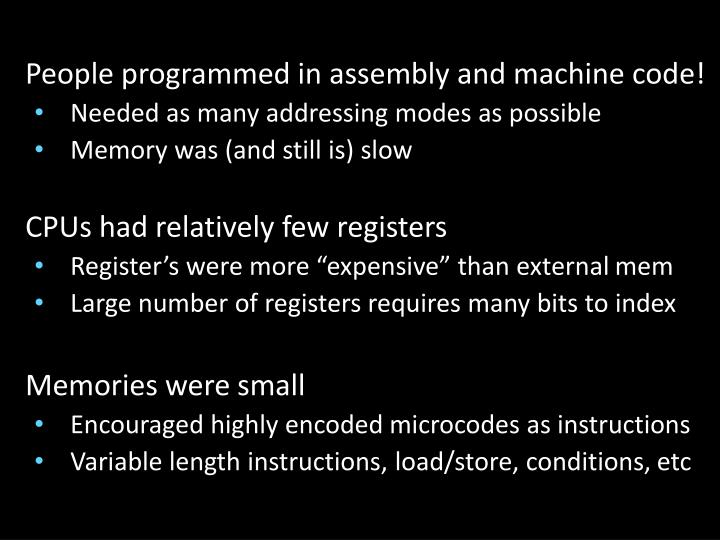 People programmed in assembly and machine code!