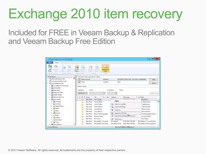 Exchange 2010 item recovery