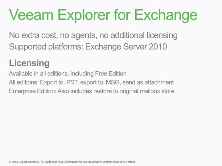 Veeam Explorer for Exchange