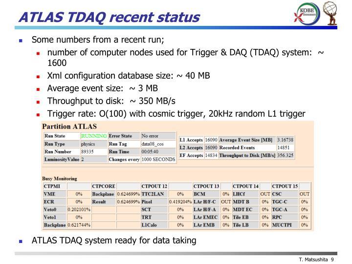 ATLAS TDAQ recent status