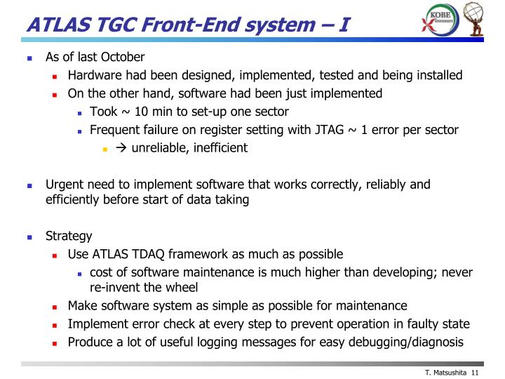 ATLAS TGC Front-End system – I