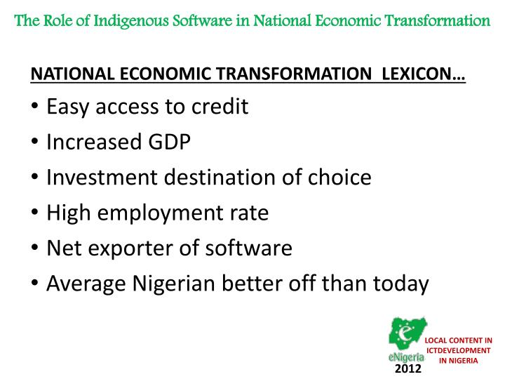 The Role of Indigenous Software in National Economic Transformation