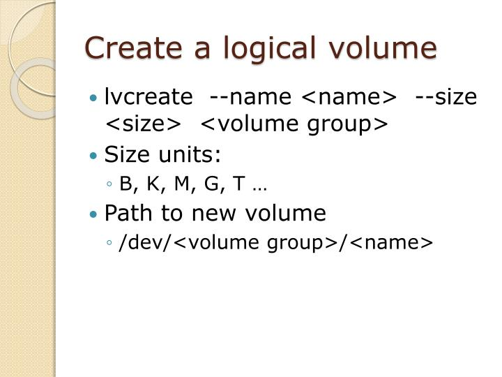 Create a logical volume