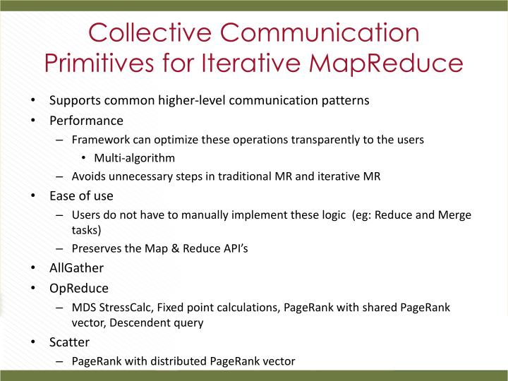 Collective Communication Primitives for Iterative