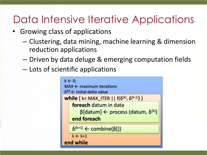Data Intensive Iterative Applications