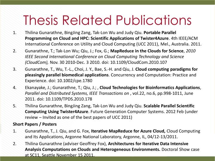 Thesis Related Publications
