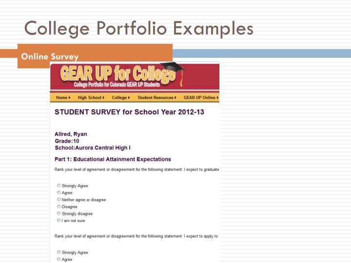 College Portfolio Examples