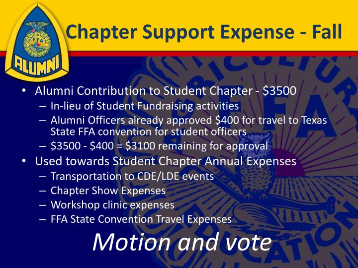 Chapter Support Expense - Fall