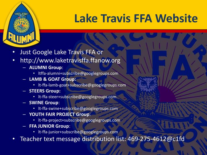 Lake travis ffa website