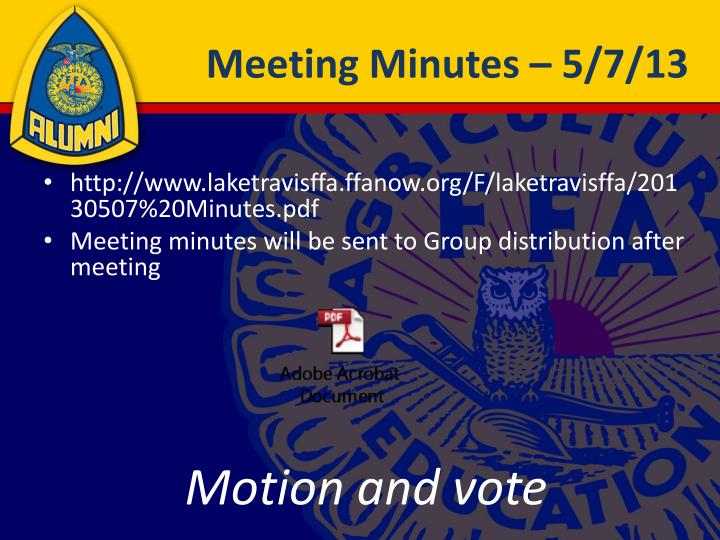 Meeting Minutes – 5/7/13
