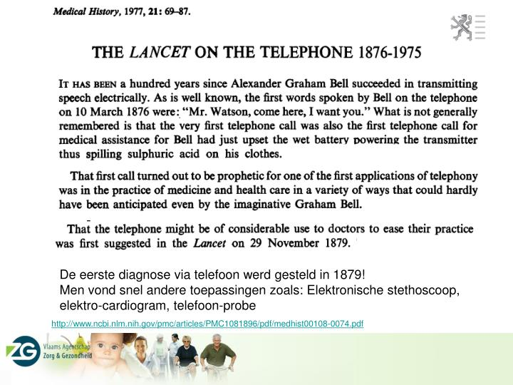 De eerste diagnose via telefoon werd gesteld in 1879!