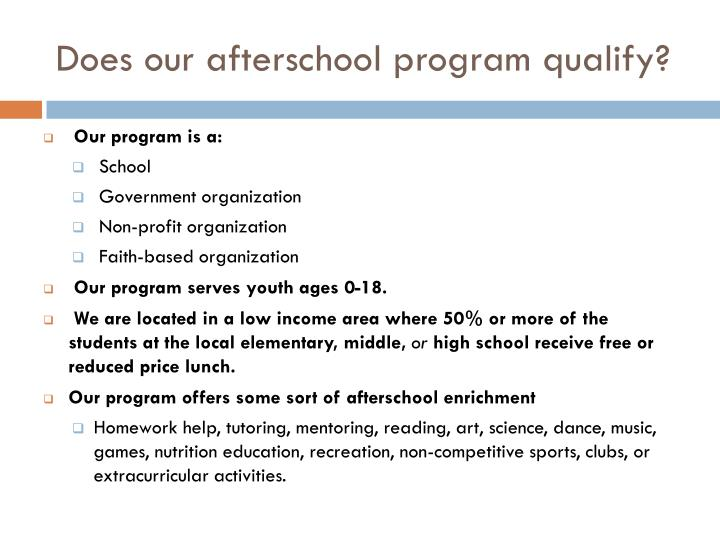 Does our afterschool program qualify?