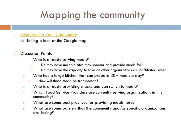 Mapping the community