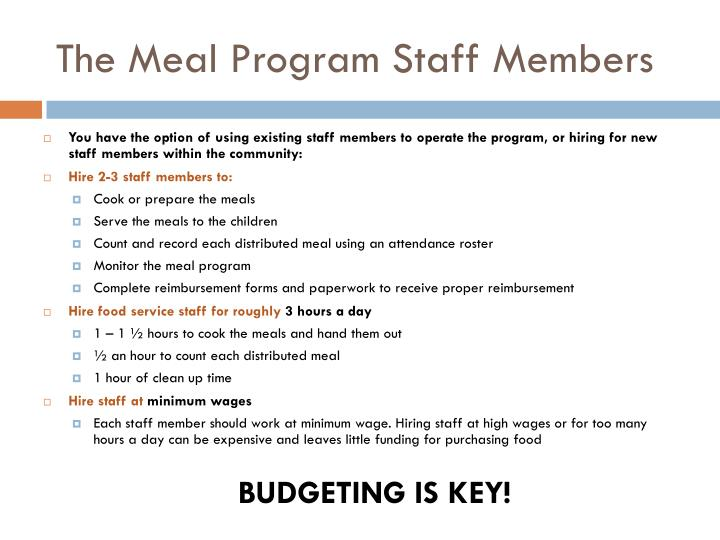 The Meal Program Staff Members