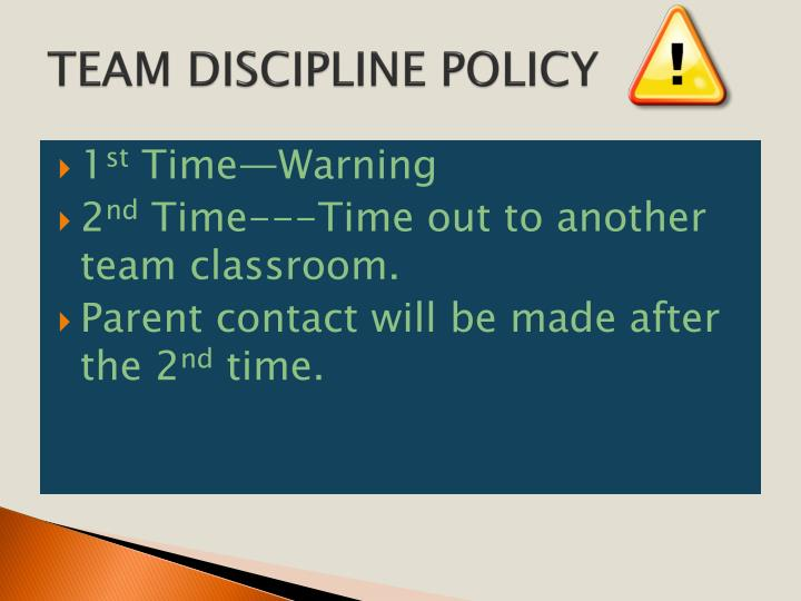 TEAM DISCIPLINE POLICY