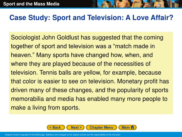 Case Study: Sport and Television: A Love Affair?