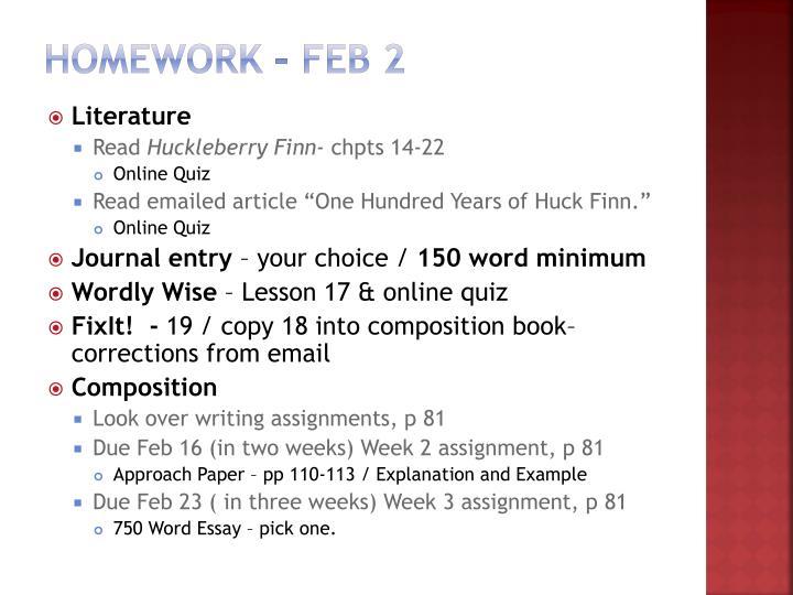 Homework – Feb 2