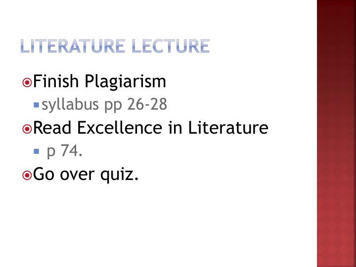 Literature Lecture