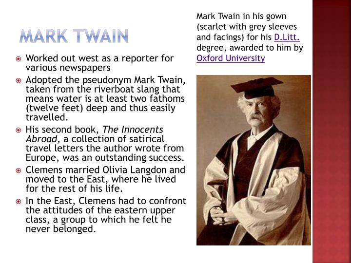 Mark Twain in his gown (scarlet with grey sleeves and facings) for his