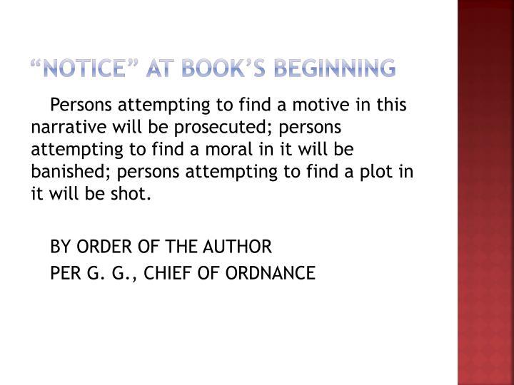 """Notice"" at book's beginning"
