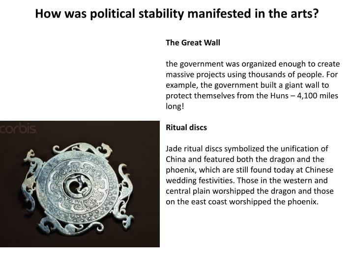 How was political stability manifested in the arts?