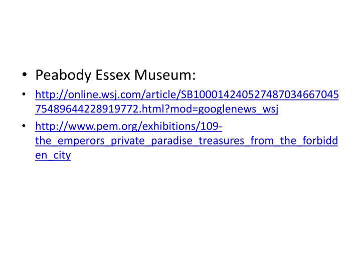 Peabody Essex Museum: