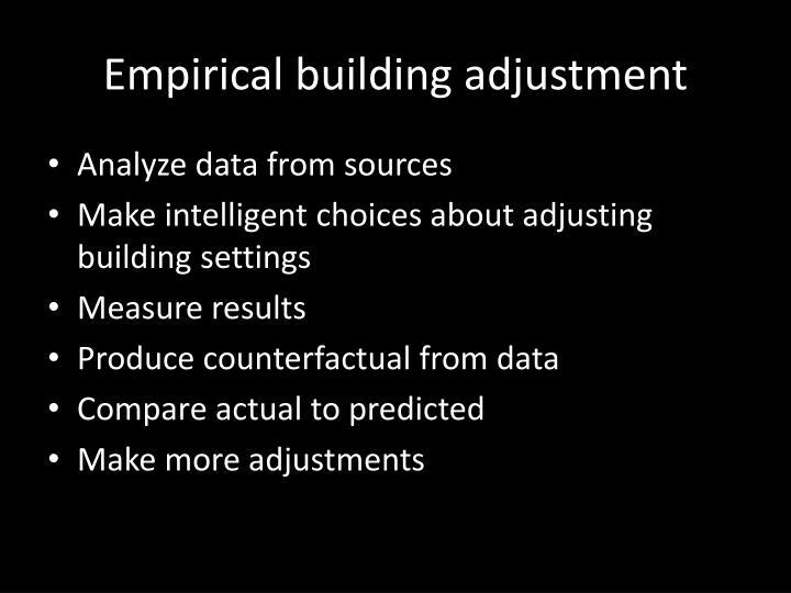 Empirical building adjustment