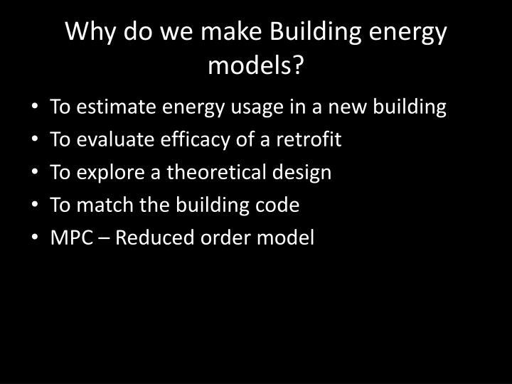 Why do we make Building energy models?
