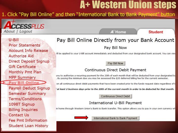 A+ Western Union steps