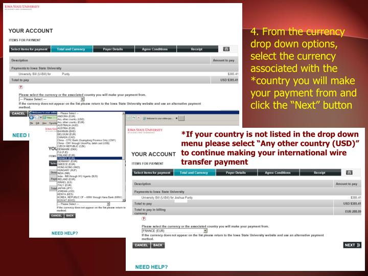 "4. From the currency drop down options, select the currency associated with the *country you will make your payment from and click the ""Next"" button"
