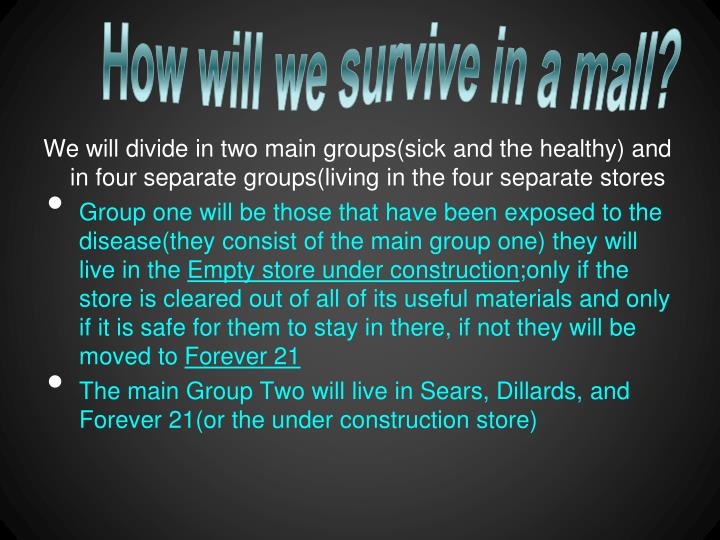 How will we survive in a mall?