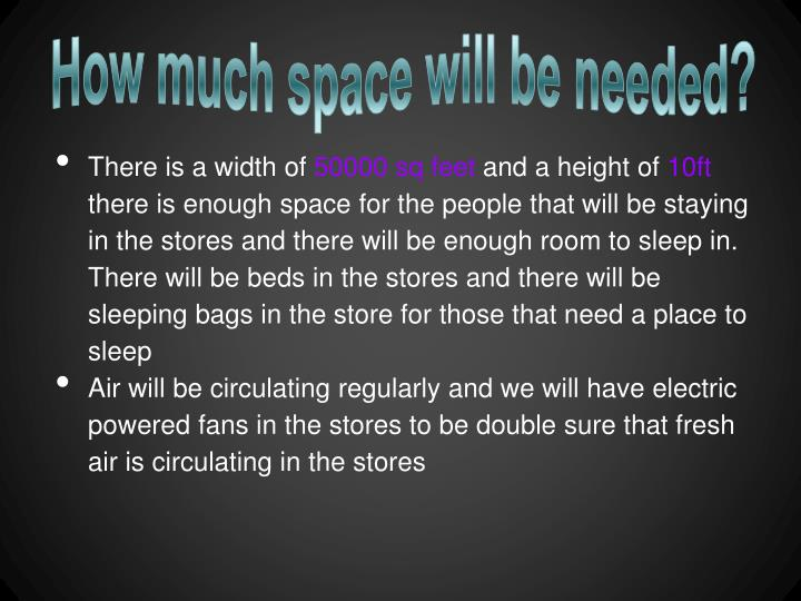 How much space will be needed?