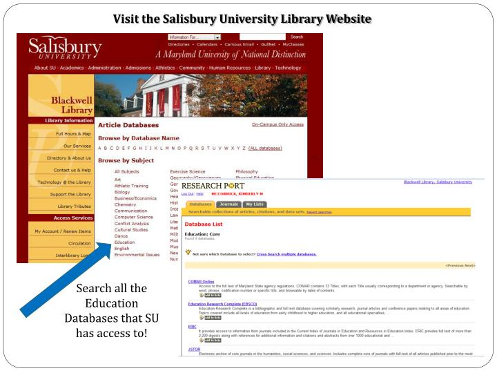 Visit the Salisbury University Library Website