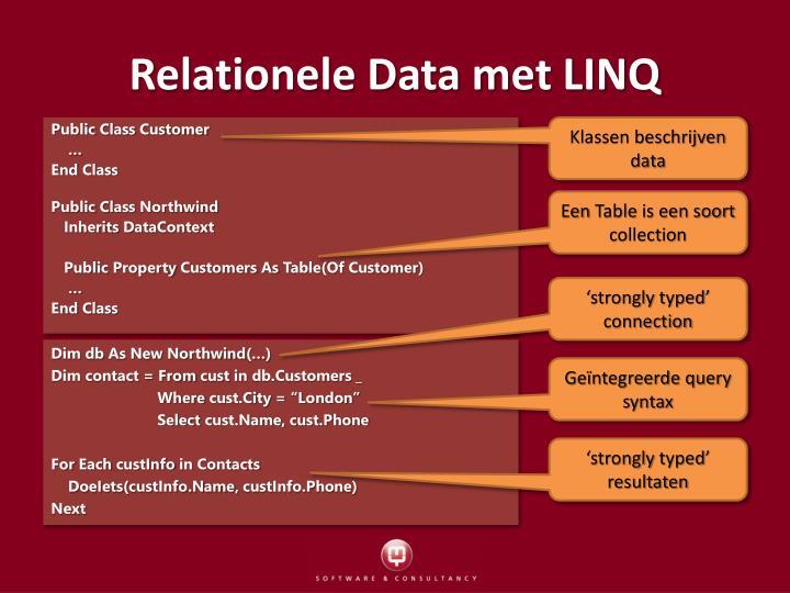 Relationele Data met LINQ